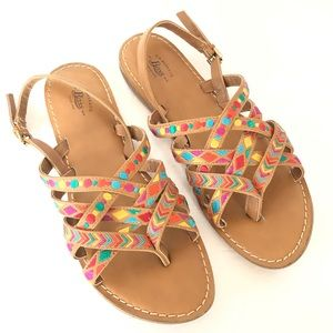 GH Bass Woven Leather Colorful Slingback Sandals
